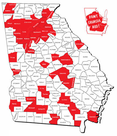 Paint Georgia Red Map 2015